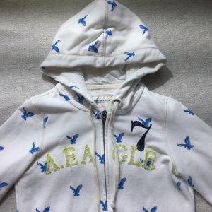 American Eagle white/blue full zip hoodie size SM